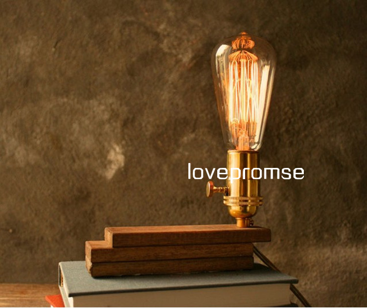 Loft Vintage Style Retro Decorate  Desk Light Solid Wood Dimmer Table Lamp Reading Lamp For Bedside Cafe Bar Coffee Shop Store loft retro coffee shop table lamp wood vintage desk lamp dimmable 40w edison bulb 220v bedroom bar table light desk light wooden