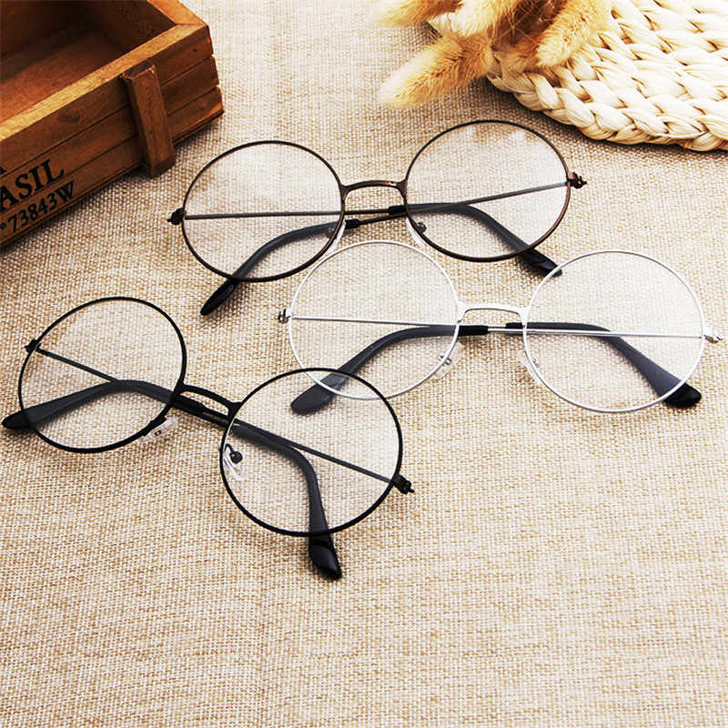 Populer Vintage Gaya Unisex Bulat Metal Lensa Kacamata Kacamata Trendi Wanita/Pria Nerd Anti Radiasi Kacamata Kacamata bingkai