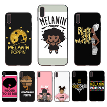 IMIDO Melanin sticker Poppin Aba Queen Black Girl design Soft phone case For iPhone6 7 8 5 XR XS X XSmax 7/8/6s/6plus 5/6S Shell цена и фото
