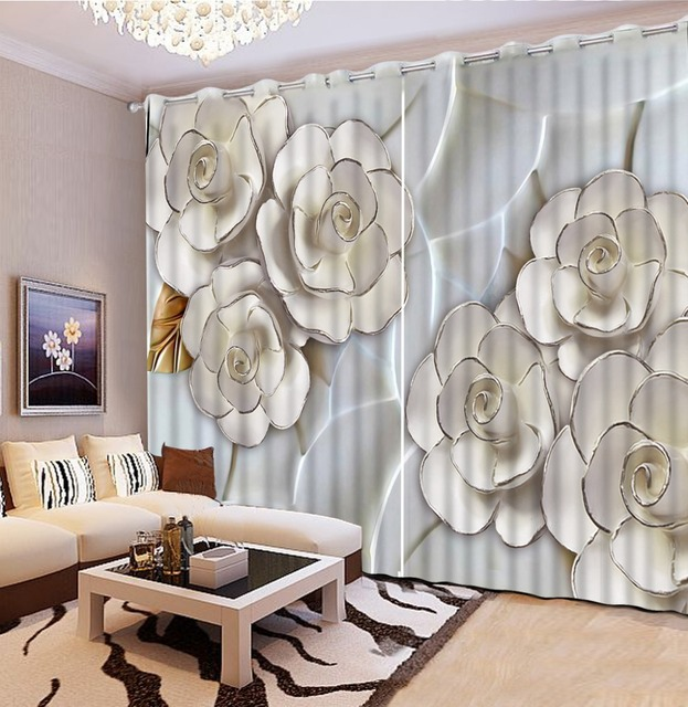 Custom curtains home bedroom decoration relief 3d flower roses ...