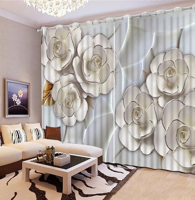 Rideaux sur mesure accueil décoration chambre relief 3d fleur roses ...
