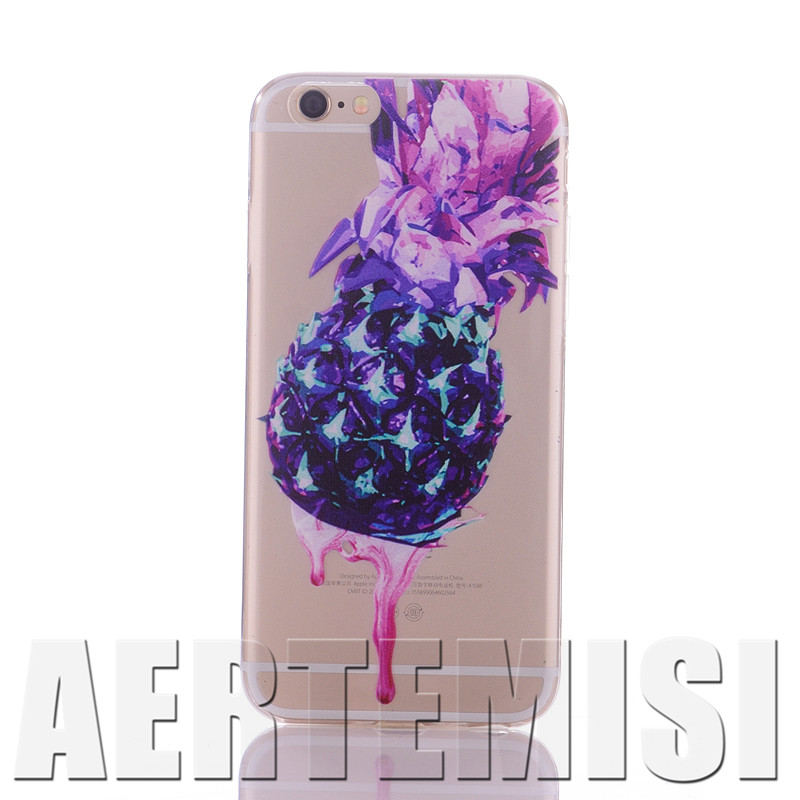 Phone Cases Dripping Pineapple Summer Trendy Cute Fruit Love Clear Crystal TPU Case for Apple iPhone 4 4s 5 5s 5c 6 6s Plus SE