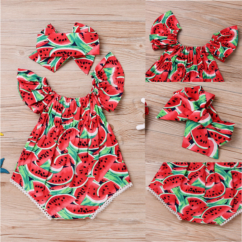 Newborn-Baby-Girls-Clothes-Watermelon-print-short-sleeve-round-neck-Bodysuit-Bowknot-Headband-2pc-cotton-casual-summer-set-5