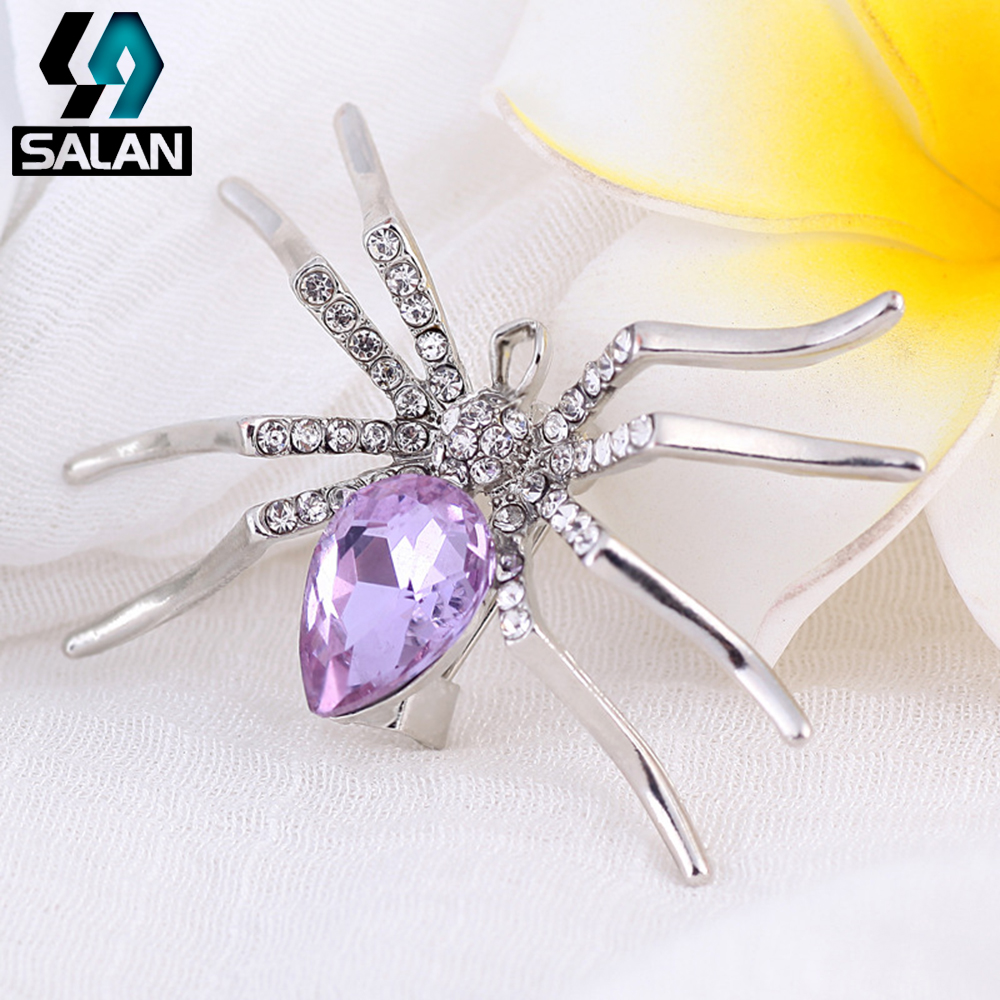 Korean fashion rhinestone crystal spider collar pin buckle men and women personalized brooch accessories