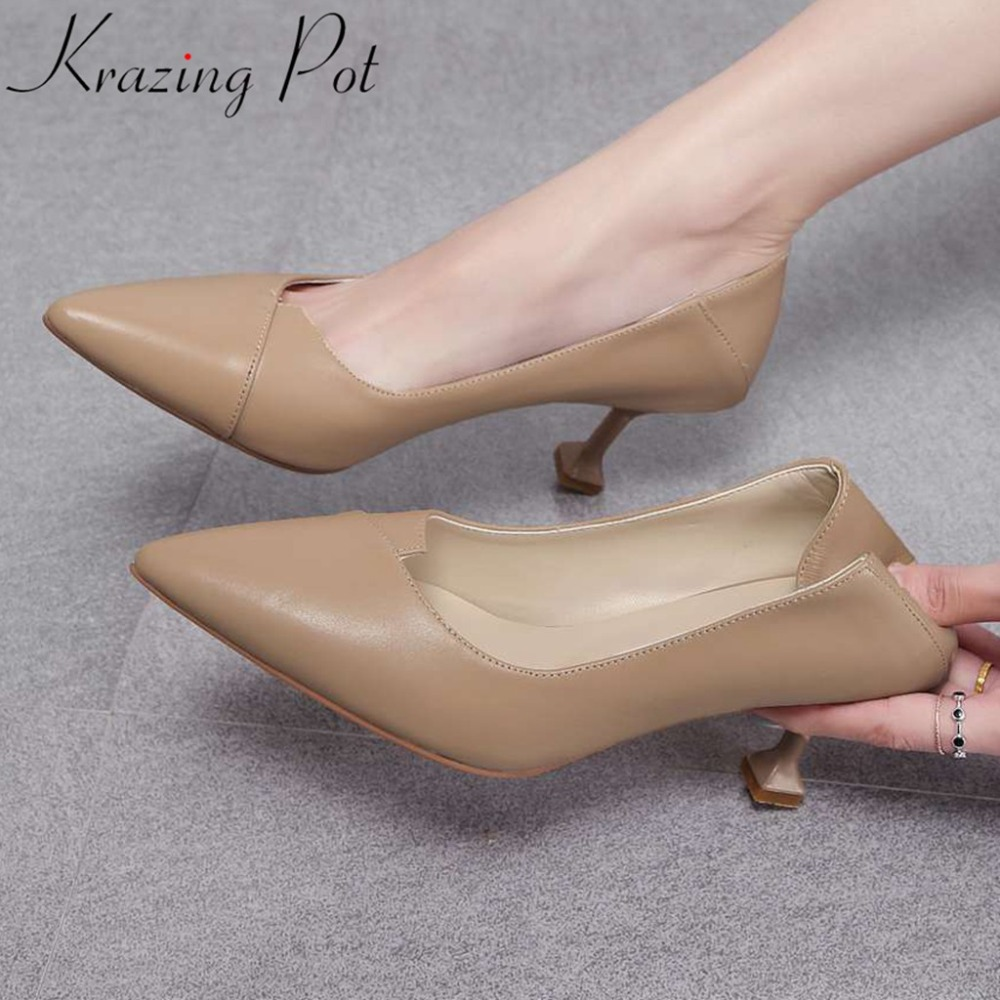 Krazing Pot real cow leather high heels shallow pumps office lady oxford pointed toe European superstars career dress shoes L55Krazing Pot real cow leather high heels shallow pumps office lady oxford pointed toe European superstars career dress shoes L55