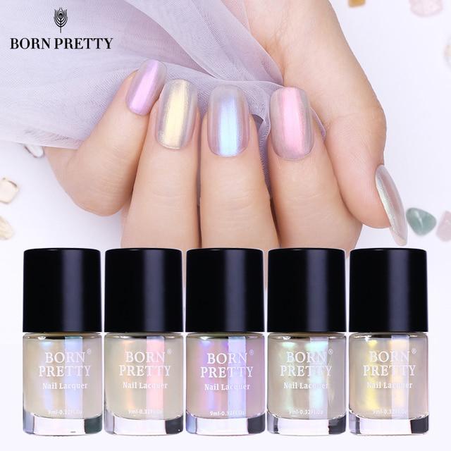 f774ddf8906 BORN PRETTY Shell Glitter Nail Polish 9ml Transparent Glimmer Shiny Lacquer  Varnish Manicure Nail Art Polish