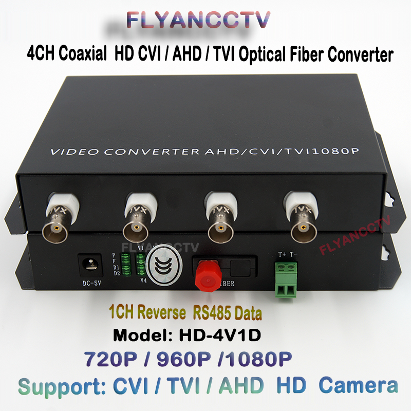 4ch 1080P HD AHD CVI TVI Fiber Optical Video Converter, 4 Channel Video Optical Converter Transceiver With Reverse RS485 Data
