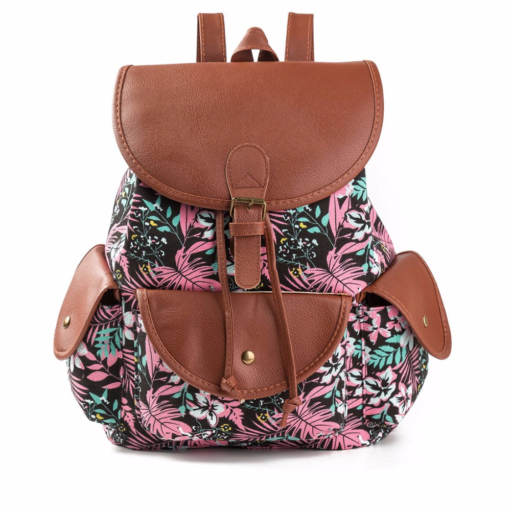 printing backpack women bags Canvas String backpack For Teenage Girls High Quality Canvas Leather Travel Bags