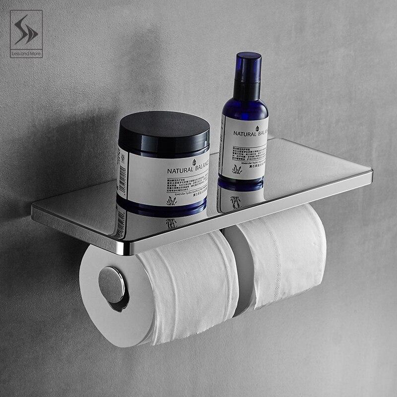 Étagère de salle de bain porte-serviettes en papier gratuit poinçonnage porte-papier hygiénique porte-papier assiette carrée avec double arbre porte-rouleau QW12