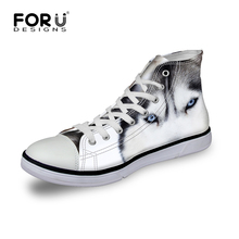 3D White Wolf Printed Women High Top Canvas