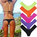 New Women Sexy Bikini Thong Bottom V-Type Ruched Beach Semi Swimwear
