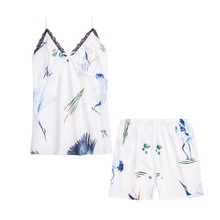 цена на Daeyard Women's Pajamas Silk Cami And Shorts With Lace Trim 2Pcs Sleepwear Set Sexy Lingerie Ladies' Pyjamas Casual Home Clothes