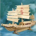 DIY model woodcraft construction kit stereo puzzles 3D fancy toy educational toys Tower Boat, free shippig