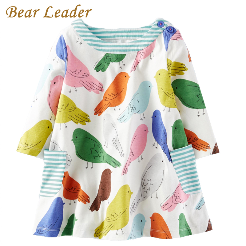 Bear Leader Girls Dress 2017 Brand Autumn Girls Clothes European and American Style  Cartoon Printing Design Baby Girls Dress 100% real photo brand kids red heart sleeve dress american and european style hollow girls clothes baby girl clothes