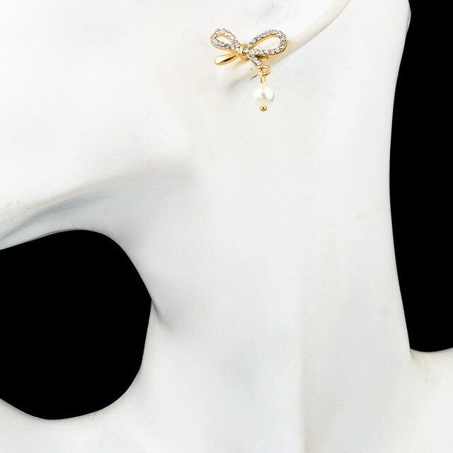 Свадебные серьги chicvie с искусственным жемчугом и бантом для