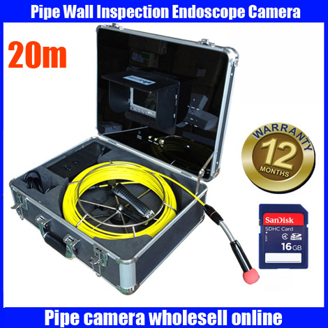 Free Shipping 20M Cable Drain Sewer Waterproof Pipe Camera Pipeline Inspection system 7 LCD DVR System 6Pcs White LED Lights drain sewer wall cave pipe inspection dvr camera pipe endoscope borescope 20m 50m cable pipeline sewage snake camera