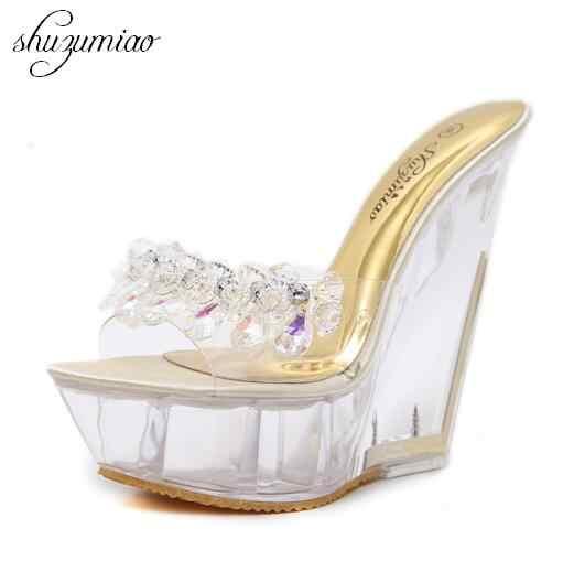 Femmes chaussures diamant à talons hauts 14 cm sandales pantoufles cristal glisser imperméable antidérapant bas épais été femme Sexy sandales