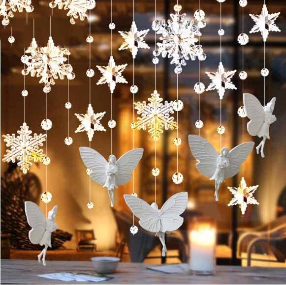 Mode cristal verre perle rideau intérieur décoration de la maison flocon de neige ange suspendu rideau salon balcon cloison