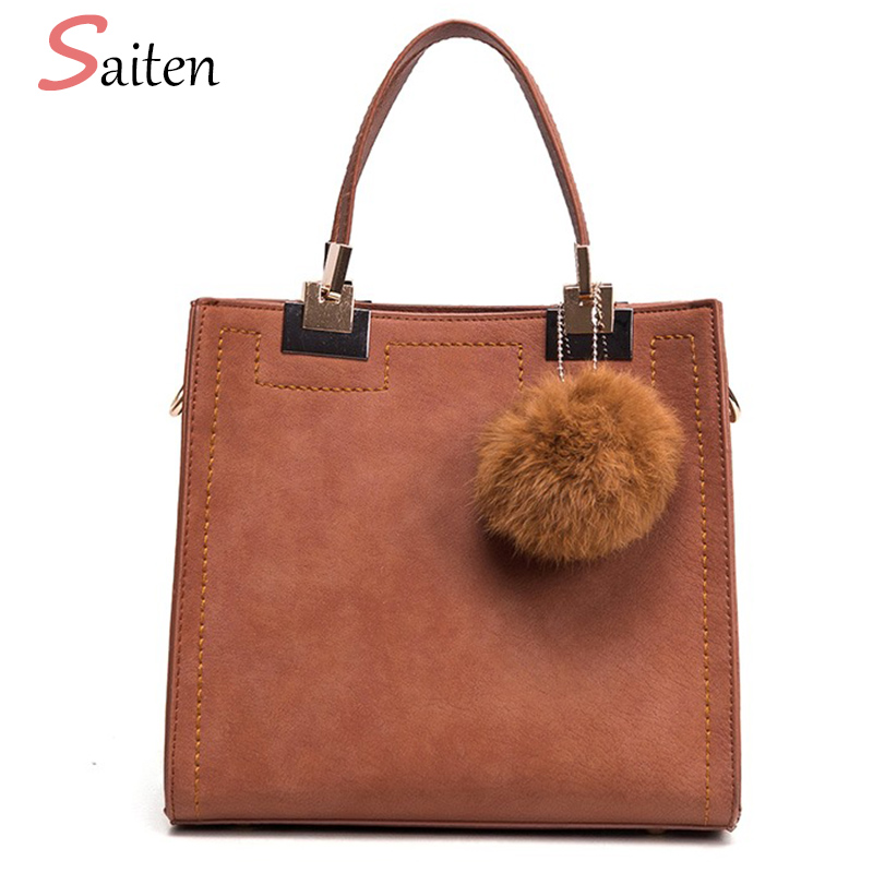 Saiten Suede pu Leather Handbag Women Casual Tote Bags High Quality Solid Ladies Messenger Bag Fur Ball Women buckets Bag Bolsos vintage handbag women casual tote bag female large shoulder messenger bags high quality pu leather handbag with fur ball bolsa