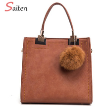 Saiten Suede pu Leather Handbag Women Casual Tote Bags High Quality Solid Ladies Messenger Bag Fur Ball Women buckets Bag Bolsos