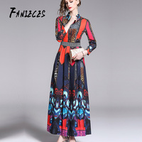 2019 fashion Runway Maxi Dresses Women Long Sleeve Casual Holiday Print Floral High Waist Belted Bow Long Pleated A Line Dress