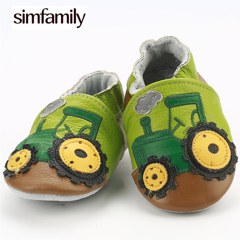 [simfamily]Skid-Proof First Walkers Genuine Leather Baby Boys Girls Infant Shoes Slippers 0-6 6-12 12-18 18-24 Carton Baby Shoes