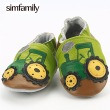 [simfamily]Skid-Proof First Walkers Genuine Leather Baby Boys Girls Infant Shoes Slippers 0-6 6-12 12-18 18-24 Carton Baby Shoes(China)
