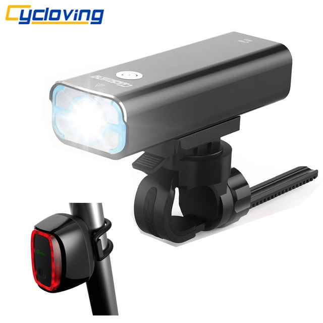 Cycloving Bicycle light Bike headlight waterproof rechargeable 5modes and Meilan x6 Bike rear light 6Modes