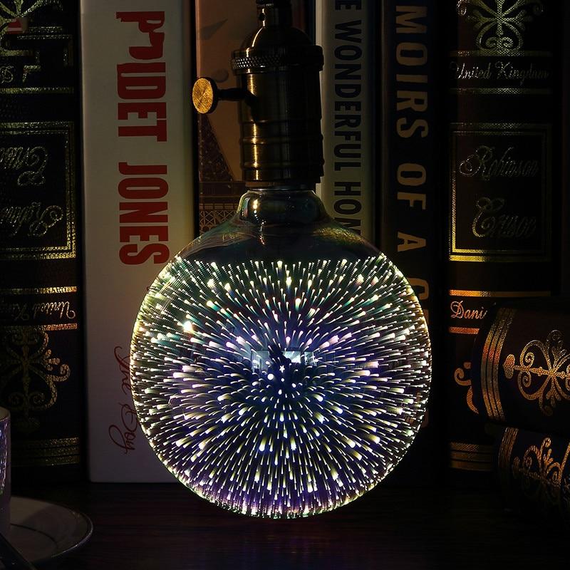 Vintagelll 3D estereoscópico novedad bombilla de luz LED 220 V E27 A60 ST64 G80 G95 G125 fuegos artificiales chapados en plata luz decorativa