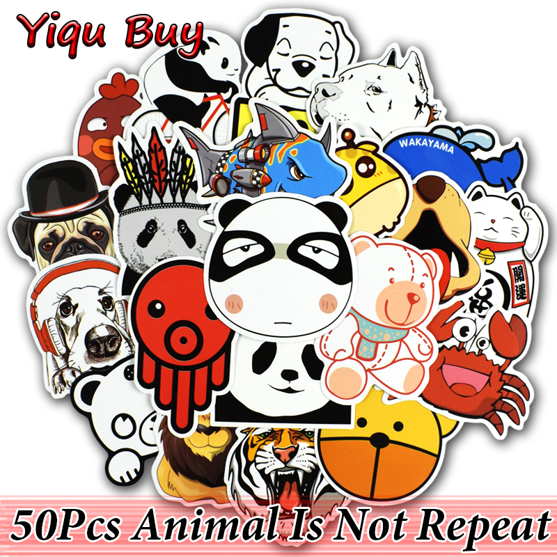 50 Pcs Animal Stickers for Laptop Skateboard Bicycle Motorcycle Car Styling Luggage Home ...