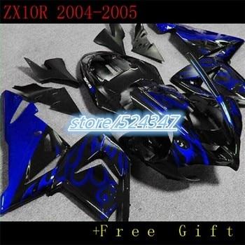 Motorcycle Fairing kit Fit for KAWASAKI Ninja ZX10R 04 05 ZX 10R 2004 2005 ZX-10R 04-05 flaming BLUE Fairings set-Nn
