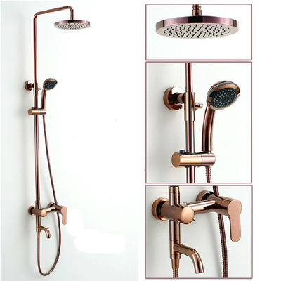 Classic Luxury Rose Gold Plate Lifting Wall Mounted Bath Shower Set Antique Faucet Mixer Taps Rainfall Head with Handheld Spray sognare new wall mounted bathroom bath shower faucet with handheld shower head chrome finish shower faucet set mixer tap d5205