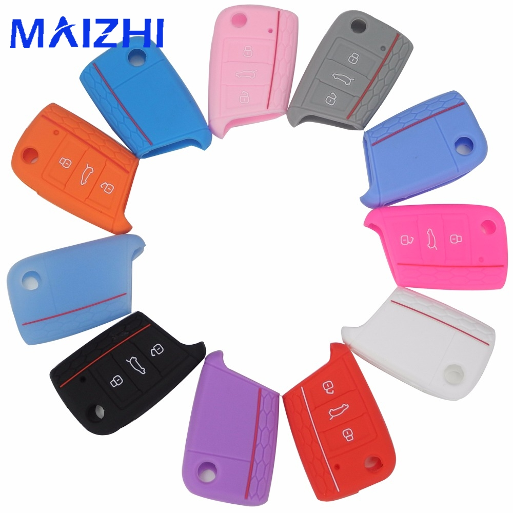 maizhi for Volkswagen VW Golf 7 mk7 Skoda Octavia A7 Silicone Key Portect Case1pc per set