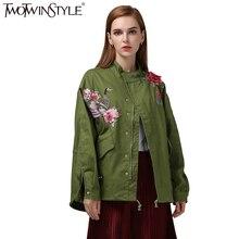 [Twotwinstyle] осень 2017 г. Вышивка Все соответствием свободные BF стиль стенд, модные новые женские куртки женские пальто(China (Mainland))