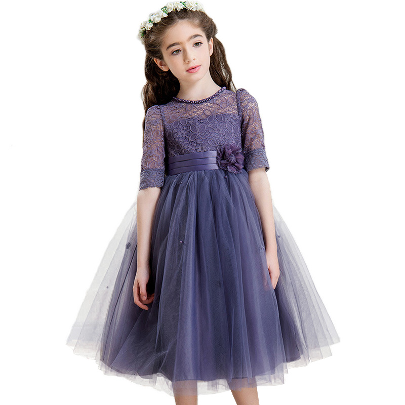 High quality Girl lace dresses Teenager Kids Party princess For Wedding Events Prom Dress Flower Appliqued Girl Birthday Dress new high quality fashion excellent girl party dress with big lace bow color purple princess dresses for wedding and birthday