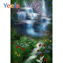 Yeele Forest Waterfall Grassland Flowers Scenery Photography Backgrounds Spring Photographic Backdrops For Home Photo Studio