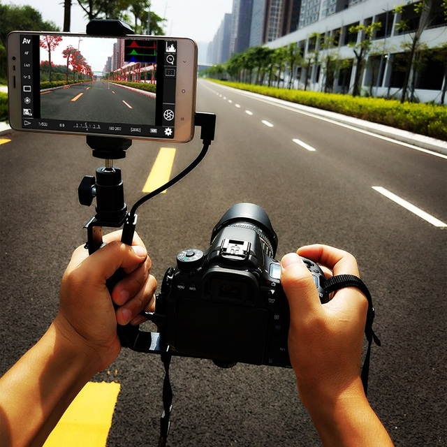 US $11 35 5% OFF|for Android Samrtphone can be Monitor for Canon ,Nikon  DSLR Camera, phone clip holder + hot shoe ball head gopro mount + otg  USB-in