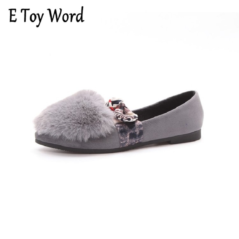 E TOY WORD A new single shallow mouth womem shoes fall 2017 really simple fashion hair Maomao shoes Korean female tidal flats lennon j skywriting by word of mouth