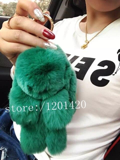 Bunny Pendants Keychains purse charm 100% real rabbit fur keychain Fur Keychains leather Bag Charm Doll Backpack charm keyrings