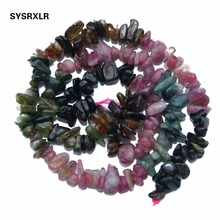 Wholesale Natural Gravel Shape Mix Color Tourmaline 5-8 MM Stone Beads For Jewelry Making Diy Bracelet Necklace Strand 34''