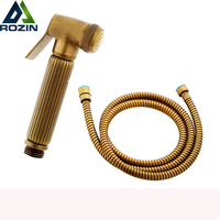 Antique Brass Hand Held Toilet Sprayer Washing Shower Head Bathroom Flusher Flushing Clean Nozzle