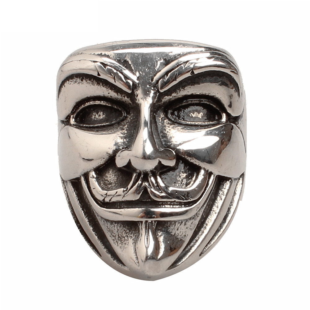 New Arrivals Guy Fawkes Mask Rings Vintage Movie Jewelry V For Vendetta  Rings Anonymous Chunky Biker