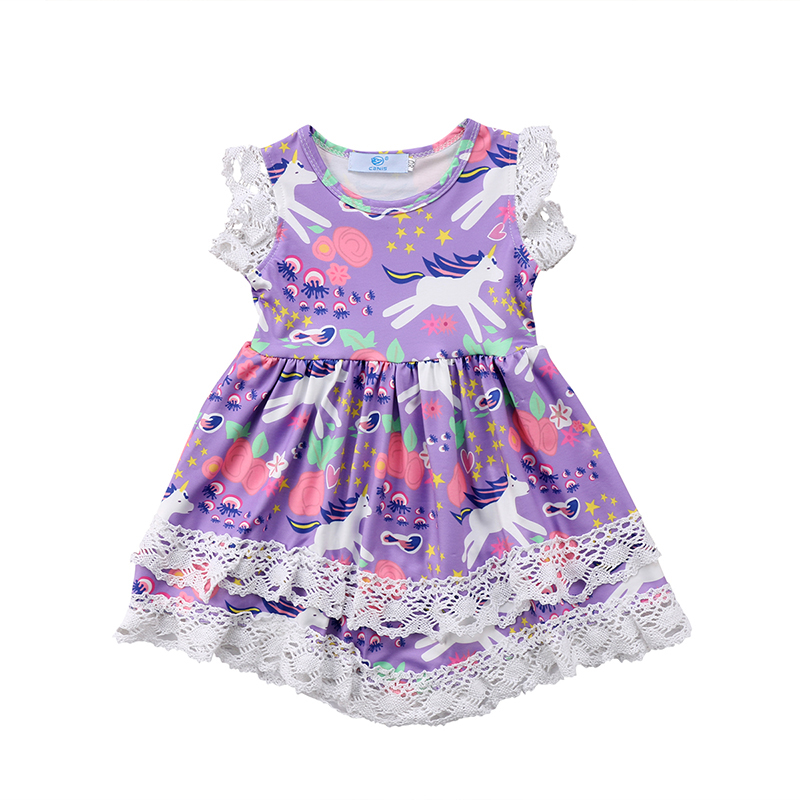 Toddler Kids Baby Girl Unicorn Dress Sleeveless Lace