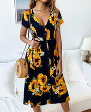 Summer vacation beach wind  dress fashion printed sunflower button ladies sexy V-neck waist