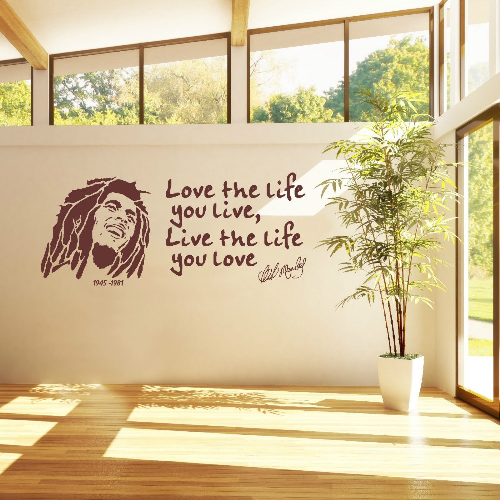 Love The Life You Live Quotes With Bob Marley Wall Sticker Art ...