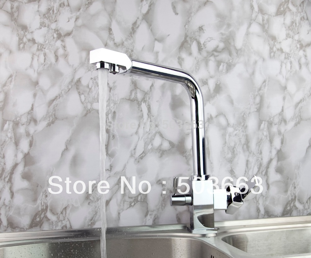 Deck Mount Single Handle Wholesale Double Outlet Kitchen Swivel Basin Sink Vessel Vanity Brass Mixer Tap Chrome Crane S-801 кольцо calvin klein ck jewelry art