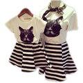 2015 одежды семьи комплект соответствующие мать и дочь комплект хлопка с коротким рукавом футболки мода полосатый платья матери дочь