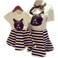2015 Family Clothes Sets Matching Mother And Daughter Set Cotton Short Sleeve T Shirts Fashion Striped