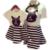 2017 Conjuntos de Roupas Da Família Mãe E Filha Combinando Set-Algodão de Manga Curta Camisetas Moda Striped Vestidos Filha da Mãe