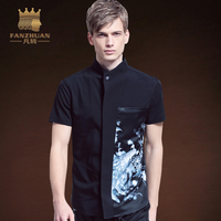 FANZHUAN 2017 New Men'S Short Sleeved Dress Shirt Men'S Casual Slim Male Quality Stand Pattern Print Shirt Asian Size M 5xl